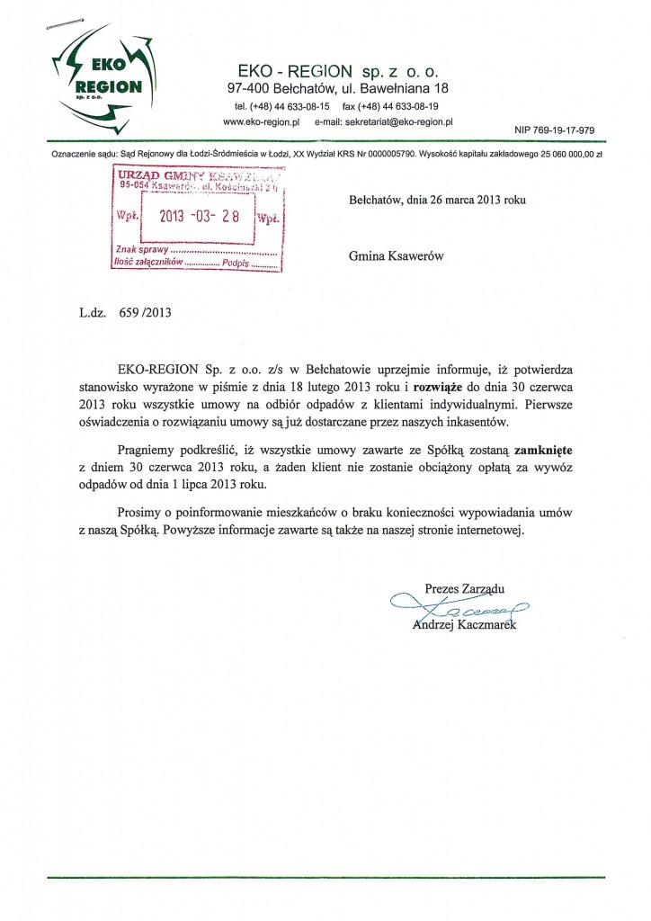 Pismo z Firmy EKO-REGION dot. braku koniecznoąści wypowiadania umów.