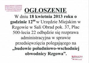 ogłoszenie dotyczące budowy obwodnicy Rzgowa