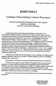 Komunikat Łódzkiego Wojewódzkiego Lekarza Weterynarii