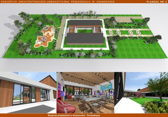 Koncepcja Archtektoniczno-urbanistyczna przedszkola w Ksawerowie - grafika
